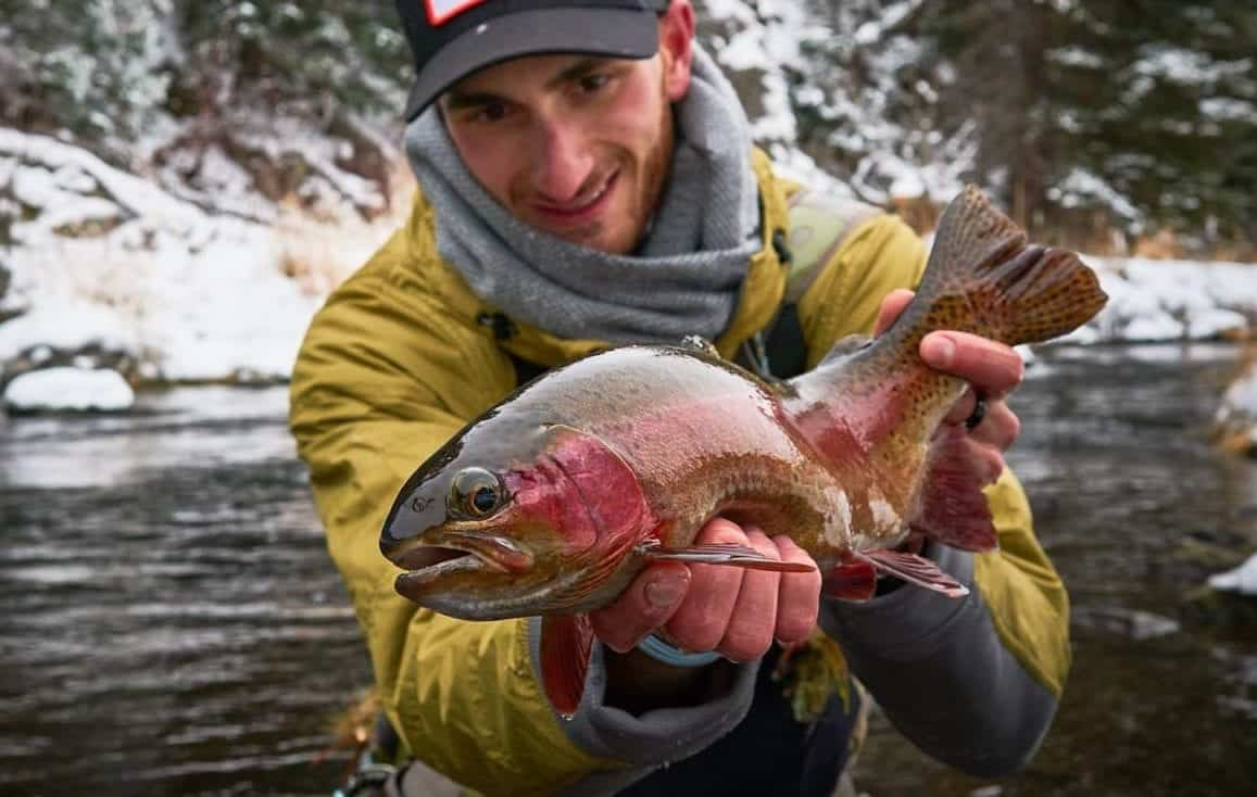 the fly crate pro staff, fly fishing flies for trout, large trout catch on a fly, high quality fly fishing photo